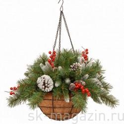 """Хвойный декор """"Кашпо подвесное с шишками и ягодами"""""""