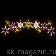 """Светодиодное панно """"Cнежинки со звездами"""", 105*400см"""