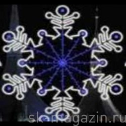 Снежинка светодиодная из дюралайта и светодиодных нитей 2м