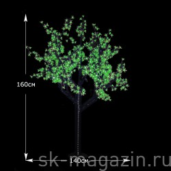 "LED-Дерево ""Сакура"",зеленая, высота 1,6 м. 648 светодиодов"