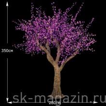 "LED дерево ""Сакура"" пурпурный 3.5 м 2800 светодиодов"