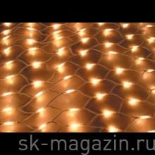Светодиодная гирлянда сеть, 2 х 3м, теплый белый, 8 функций мерцания