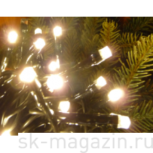 Гирлянда светодиодная нить, 90 светодиодов, 9 м., цвет теплый белый, мерцает, провод прозрачный