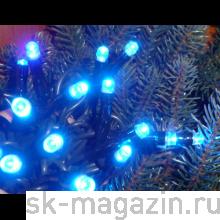 Гирлянда светодиодная нить, 100 светодиодов, 10 м., мерцает, синяя, провод: прозрачный