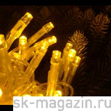 Гирлянда светодиодная нить, 100 светодиодов, 10 м., желтая, провод: прозрачный