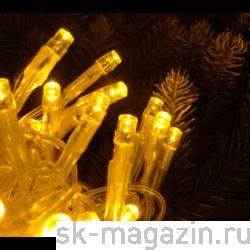 Гирлянда светодиодная нить, 100 светодиодов, 10 м., желтая, провод: черный