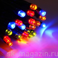 Светодиодный занавес 2х3 м, мульти, статичный, провод: чёрный/прозрачный