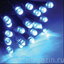 Светодиодный занавес 2х3 м, синий, статичный, провод: черный