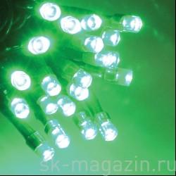 Светодиодный занавес 2х3 м, зеленый, статичный, провод: чёрный