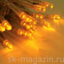 Светодиодный занавес 2х1,5 м, желтый, мерцает, провод: прозрачный
