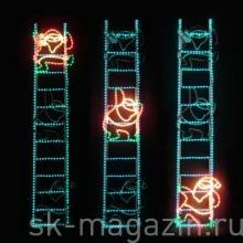 """Мотив """"Санта Клаус бегущий по лестнице""""  2м x 50 см"""