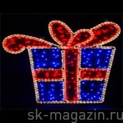 """Мотив """"Подарок"""" цвет: синий/красный,  70 x 50 см, мерцает"""