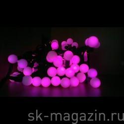 Гирлянда с большими шариками (d 2,3см), розовая, длина 10м